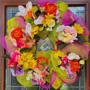 Spring/Summer Deco Mesh Wreath